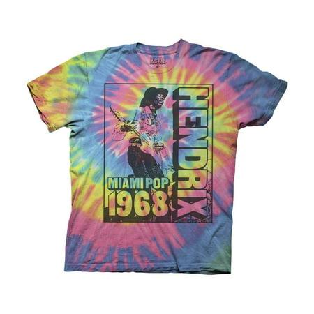 Jimi Hendrix Adult Unisex Miami Pop 1968 Crew T-Shirt Multi