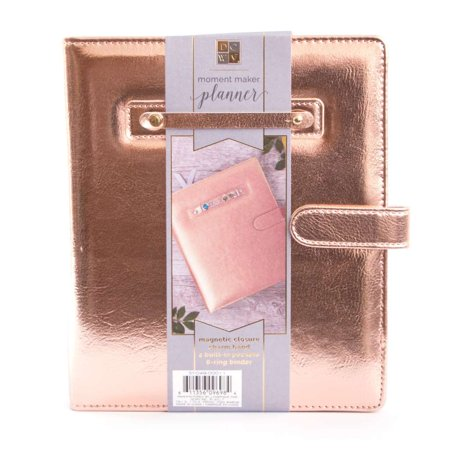 American Crafts DCWV Moment Maker Planner - 6-Ring System Binder - Rose Gold, 7.9