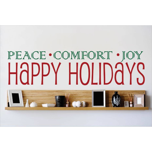 Design With Vinyl Peace.Comfort.Joy Happy Holidays Wall Decal
