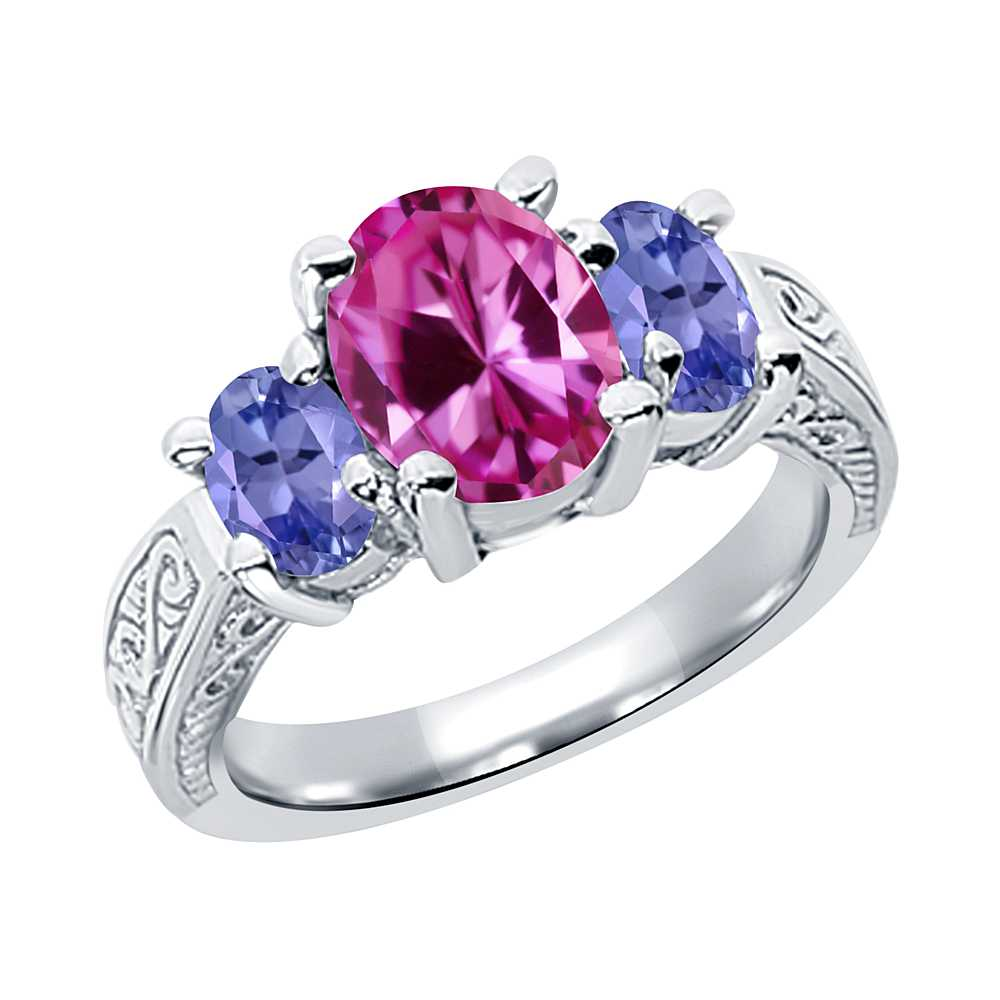 3.30 Ct Oval Pink Created Sapphire Blue Tanzanite 14K White Gold 3-Stone Ring by