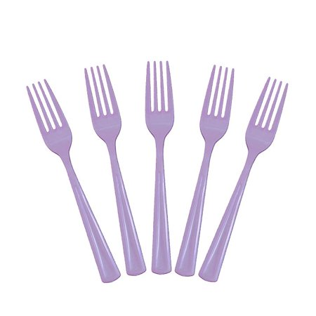 Exquisite Disposable Plastic Forks - 50 Count - Party Deluxe, Heavyweight Plastic Cutlery - Lavender