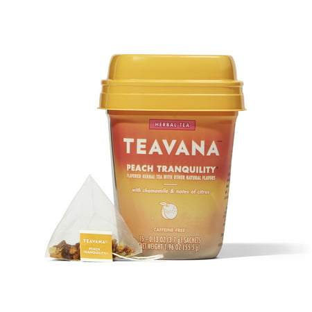 Teavana Peach Tranquility Herbal Tea, Tea Bags, 15 Count (Tea Forte Herbal Tea Chest)