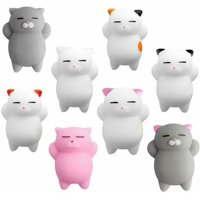 8Pcs Cute Cat Weak Squeeze Toy To Relax Stress Decoration