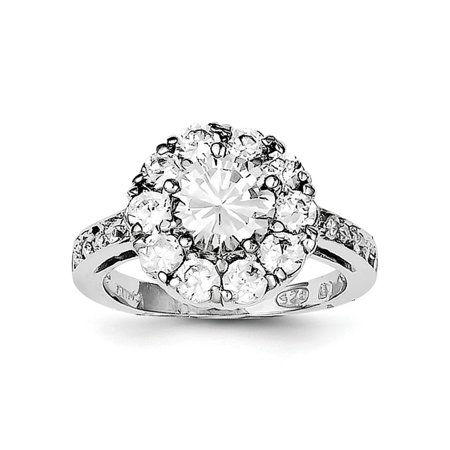 IceCarats 925 Sterling Silver Cubic Zirconia Cz Band Ring Size 8.00   Fine Jewelry Gift Valentine Day Set For Women Heart - Rings For Valentine's Day