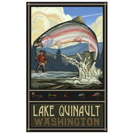 Lake Quinault Washington Rainbow Trout Fisherman Hills Travel Art Print Poster by Paul A. Lanquist (12