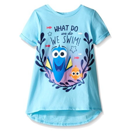 Dory Nemo (Girls' Dory and Nemo 'What Do We Do, We Swim!' Hi-Lo Short Sleeve Graphic T-Shirt With Cuff Rolled)