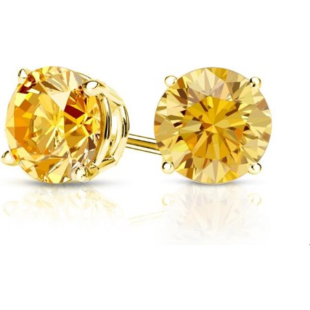 Genuine Mixed Gemstone - Pori Jewelers 14K Gold 2.0Cttw Round Genuine Citrine Gemstone Stud Earrings