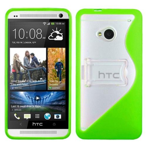 Insten Transparent Clear/Solid Green S Shape With Stand Gummy Case Cover For HTC One M7