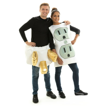 Funny Homemade Couple Costumes (Hauntlook Socket and Plug Couples Halloween Costume - One-Size Funny Adult Unisex)