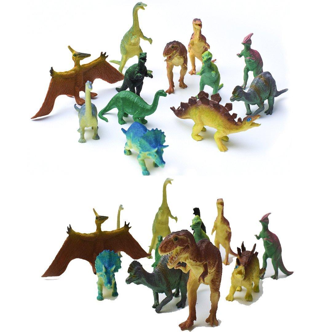 AU191 12 Pcs Dinosaur Toy, Plastic Dinosaurs, Jumbo Dinosaurs, Dinosaur Toys For Kids for Dinosaur Themed Party, birthday, Christmas, Halloween, and Easter Eggs - Assorted