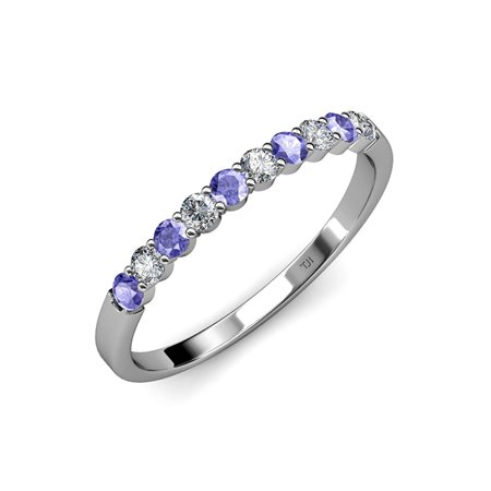 Aquamarine Common Prong Eternity Band 2.09 ct tw to 2.51 ct tw in 18K White Gold.size 6.0