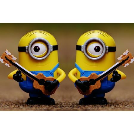 Cute Minions (Canvas Print Funny Figures Double Minions Guitar Music Cute Stretched Canvas 10 x)