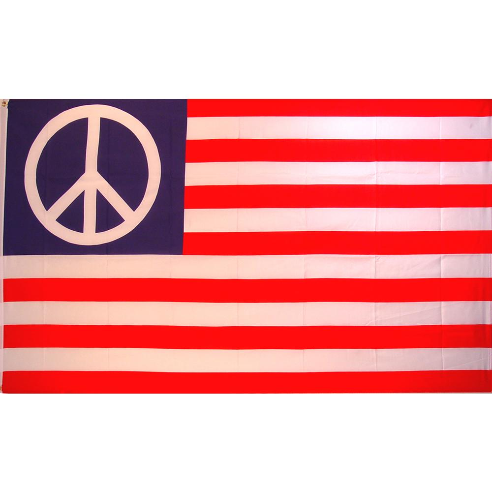 Peace Sign American Flag with Grommets 3ft x 5ft