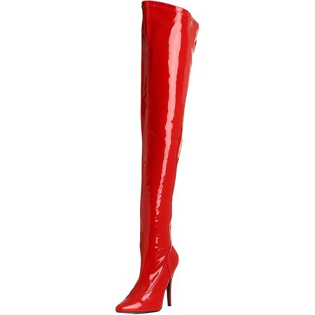 Red Thigh High Boots (5 Inch Sexy Thigh Hi Boots Stretch Thigh Boot Red Stretch Patent High Heel)