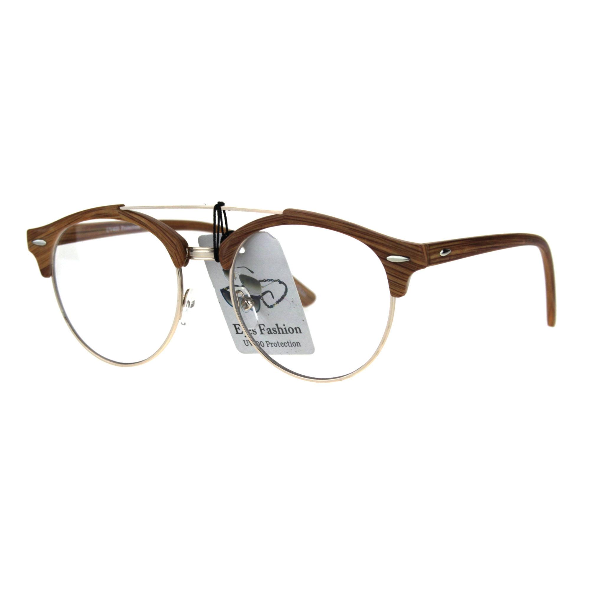 f863ea7d20 Mens Retro Hipster Half Horn Rim Clear Lens Eyeglasses Black Gold -  Walmart.com