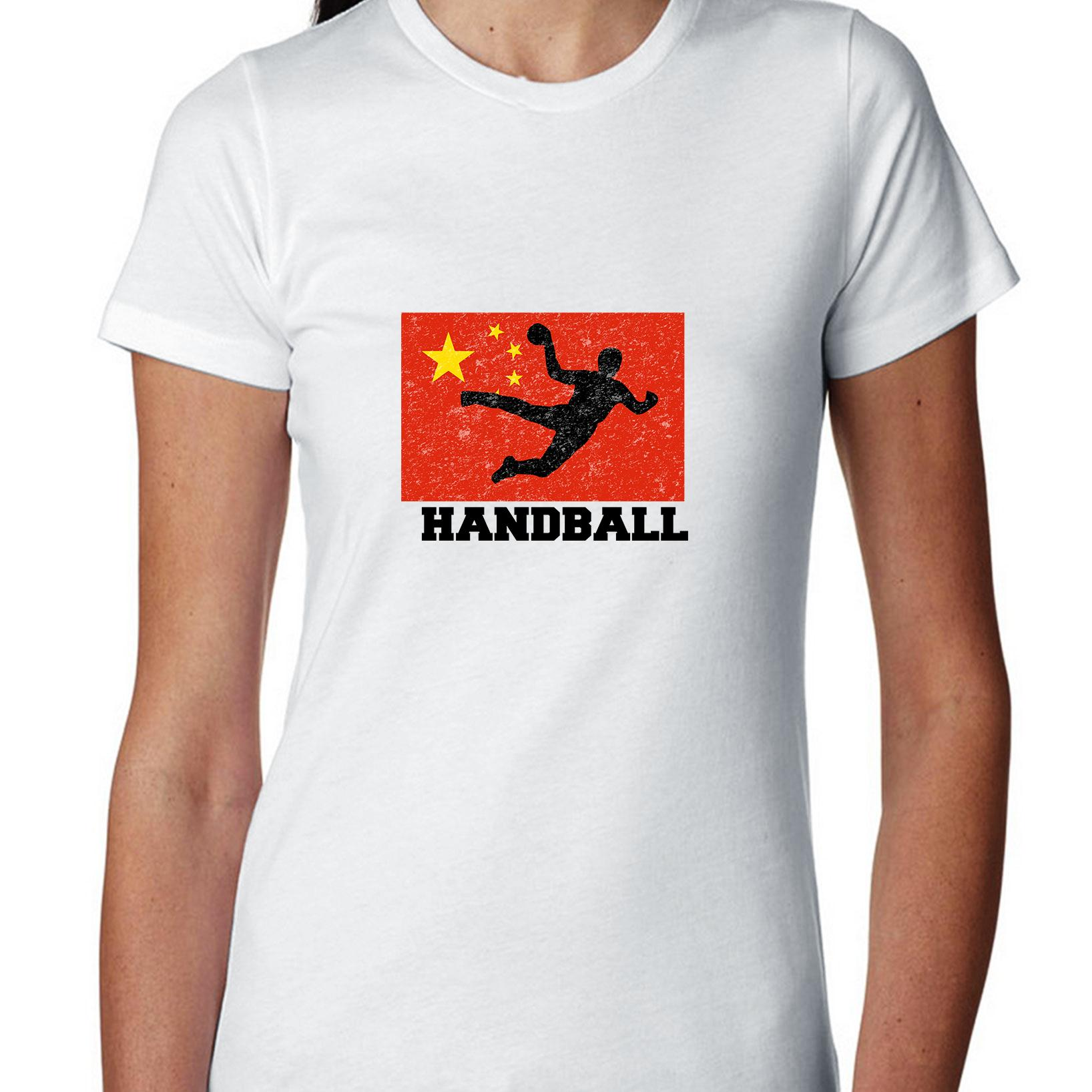 China Olympic Handball Flag Silhouette Women's Cotton T-Shirt by Hollywood Thread