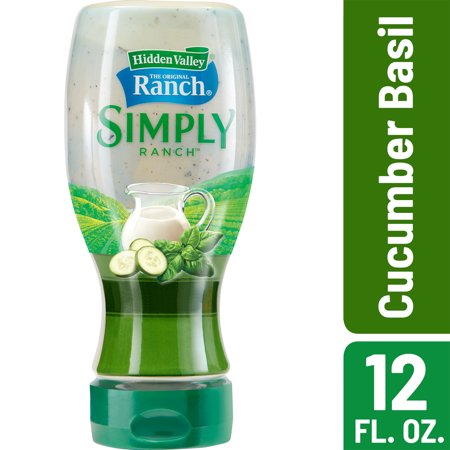 (3 Pack) Hidden Valley Simply Ranch Cucumber Basil Salad Dressing & Topping, Gluten Free - 12 oz Bottle (Cajun Salad Dressing)