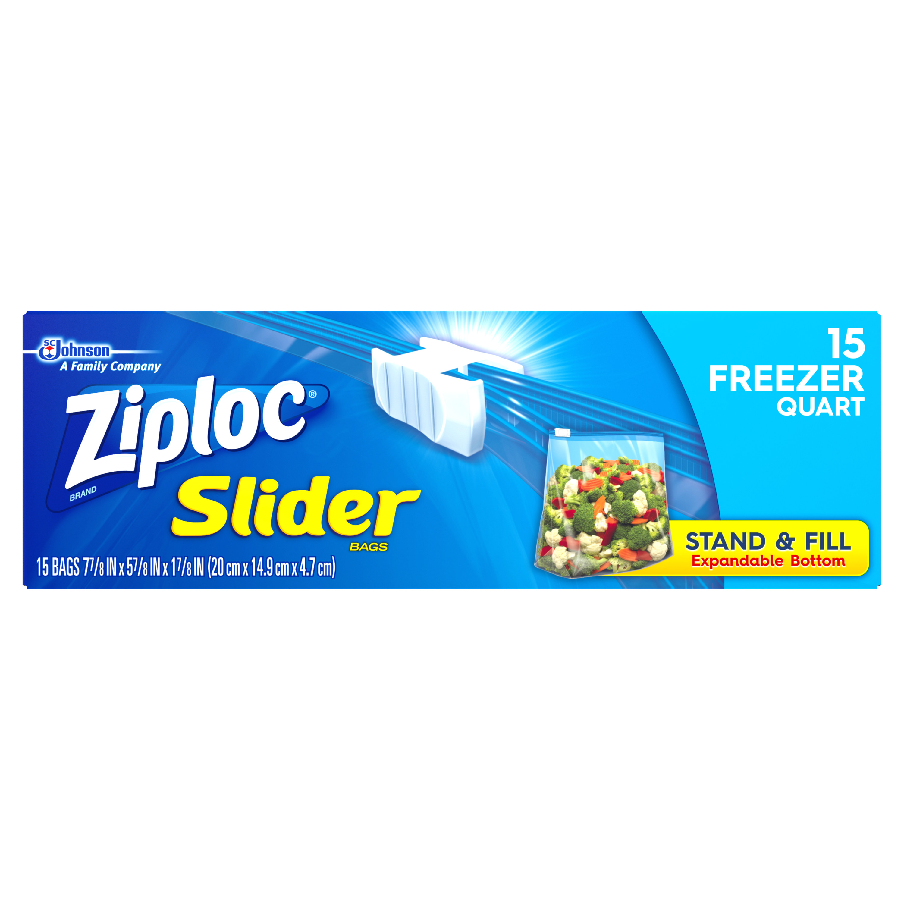 Ziploc Slider Freezer Quart 15 Count