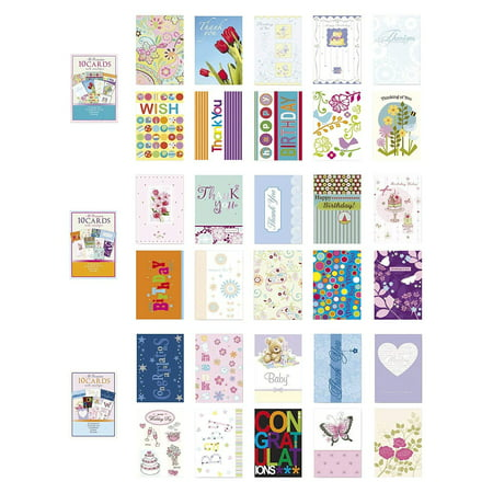 Assorted All Occasion Cards Box Set 30 Pack, Thinking of You, Blank, Thanks You, Congratulations & Birthday Greeting Cards Assortment in Bulk (Blank Inside Art Card)