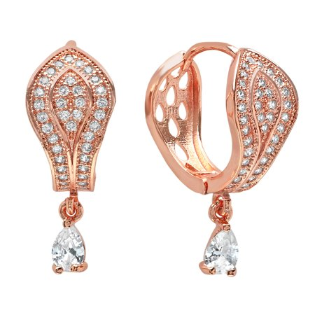 Ben&JonahLadies 18k rose gold plated brass simulated diamond hoop earrings with pear cut simulated diamond drop (18k Diamond Cut Hoop Earrings)