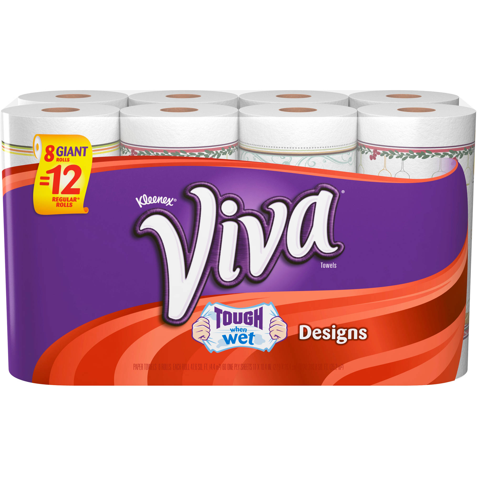 Viva Designs Giant Roll Paper Towels, 60 sheets, 8 count