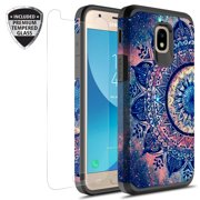 Samsung Galaxy J3 Achieve Case, J3 Star Case, Galaxy Express Prime 3 Case, J3 2018 Case, J3 V 2nd Gen. Case, Amp Prime 3 2018 Hybird Graphic Case With Tempered Glass Screen Protector (Mandala)