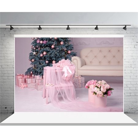 GreenDecor Polyster 7x5ft Christmas Backdrop Sweet Flower Xmas Tree Tulle Photography Background Baby Girl Kid Infant Portrait New Year Indoor Decoration Photo Shoot Studio Props Video Drop - Halloween Photo Shoot Ideas For Infants