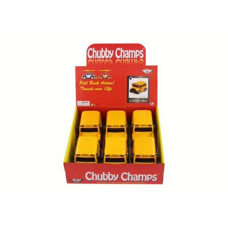 Box of 6 Model Toy Cars - Chubby Champs School Bus, Yellow, Plastic for -
