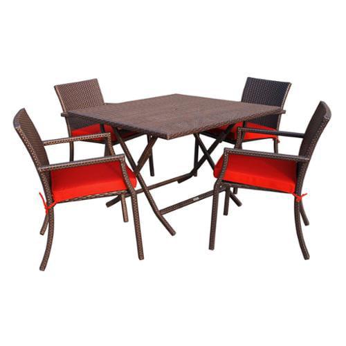 Jeco 5-piece Cafe Square Resin Wicker Dining Set