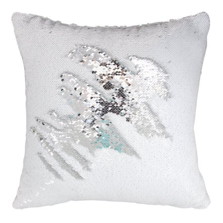 Wendana Decorative Mermaid Pillow Case,Play Tailor Magic Reversible Sequin Mermaid Pillow Cover,White-Silver Color,Throw Cushion Case 40x40cm For Sofa Livingroom,16x16 Inches For Children