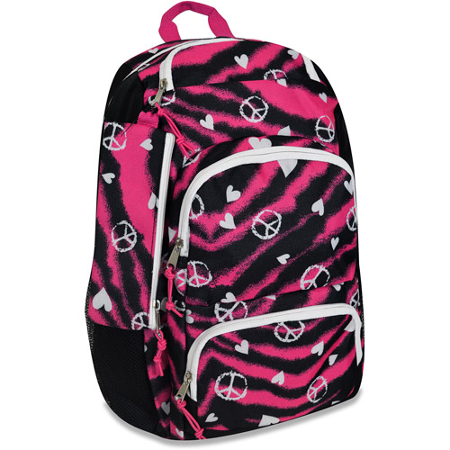 "Triple-Pocket 18"" Punk Zebra Love Backpack"