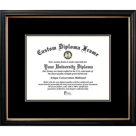 85x11 Petite Black Gold Trim Double Black Mats Certificate Frame