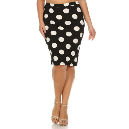 Plus size Women's polka dot  print  - Navy And White Polka Dot Skirt