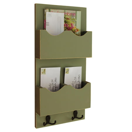 Tall Mail Organizer with two mail slots - One Divided Slot and One Large Slot with Key Hooks