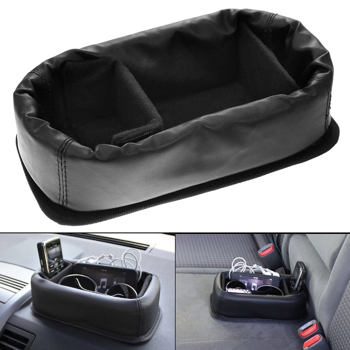 Faux Leather Soft Storage Anti Slip Car Organizing Tray Divider Desk Felt Lined