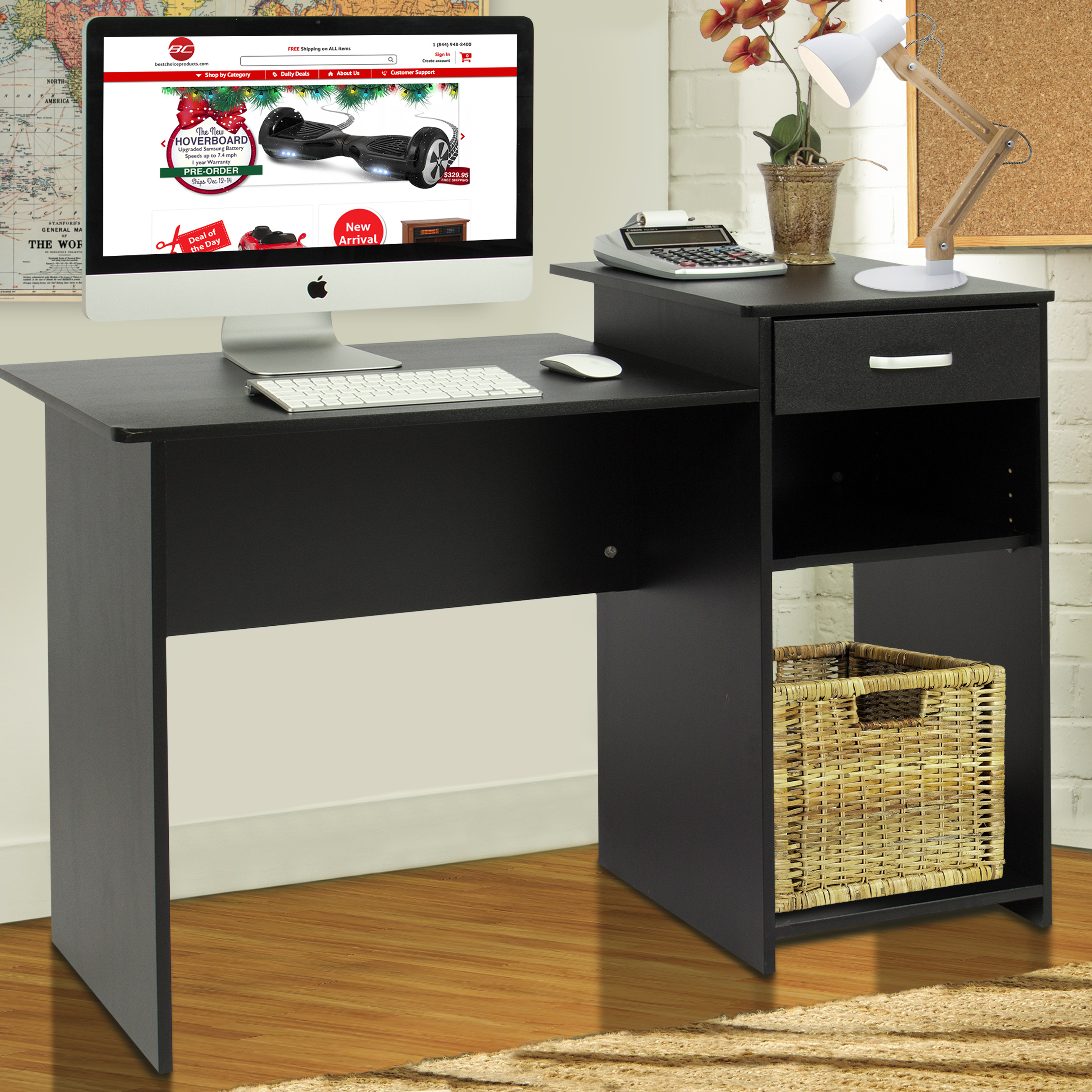 Best Choice Products Student Computer Desk Home Office Wood Laptop Table  Study Workstation Dorm   Black   Walmart.com