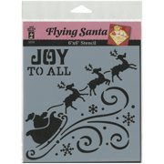 "Hot Off The Press Stencils 6""X6""-Flying Santa Silhouette"