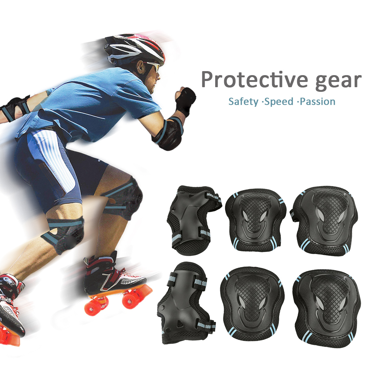 Skateboard Roller Blading Elbow Knee Wrist Protective Safety Gear Pad Guard 6pcs Set for Child Kids Roller by USCOCO