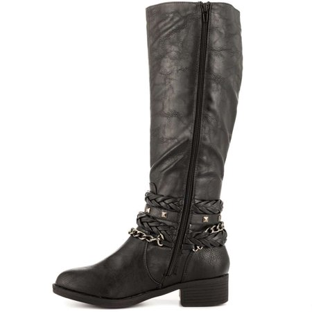 Just Fab Womens Blaize Closed Toe Knee High Riding Boots