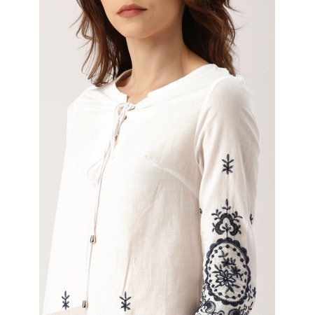 all about you from Deepika Padukone Women White Self Design Top - image 4 de 6