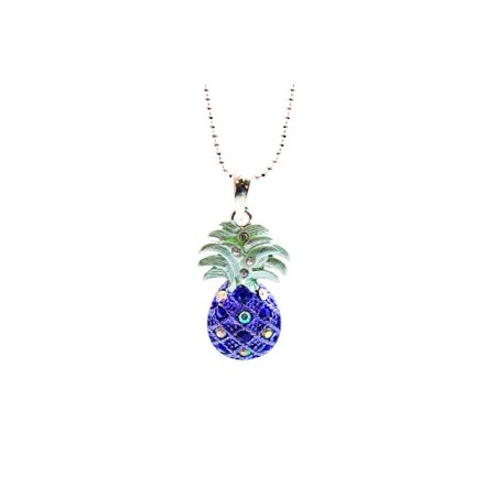 Hawaii Tropical Sparkling Pineapple Necklace with Chain in Sapphire Blue Sapphire Gold Cross