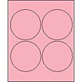"4"" Round Pastel Pink Labels for Laser Printers, Inkjet Printers or Copier Machines. (GLC400PP)"