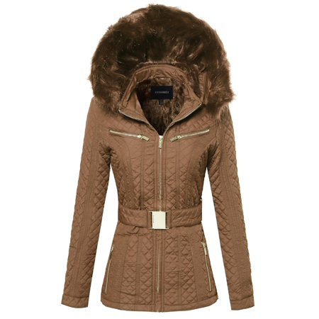 FashionOutfit Women's Quilted Fur Lined Lux Gold Zippered Parka