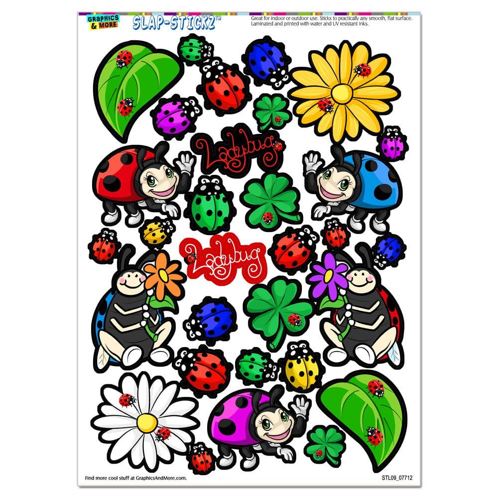 Cute Ladybugs - Flowers Clovers SLAP-STICKZ(TM) Premium Sticker Sheet