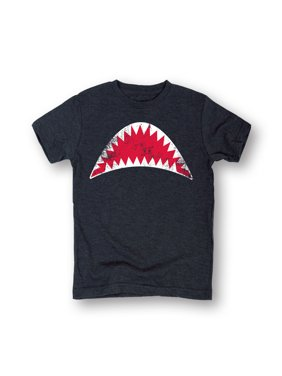 08e81da8 Product Image Open Shark Jaws Mouth Grey Short Sleeve T-Shirt For Boys