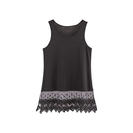 "9e3c3543a33c2e KAKTUS SPORTSWEAR - Women s Lace Trim Layering Tunic Tank Top - Extends Shirt  Blouse Length - 30"" - Walmart.com"