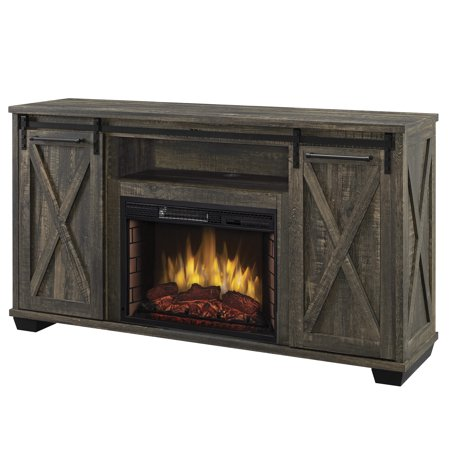 Portland 58 in Infrared Media Electric Fireplace in Barnboard Gray