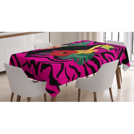 Pink Zebra Tablecloth, Toucan Bird Sitting on Hibiscus Plants Flowers Large Leaves on Zebra Background, Rectangular Table Cover for Dining Room Kitchen, 52 X 70 Inches, Multicolor, by - Zebra Table Cover