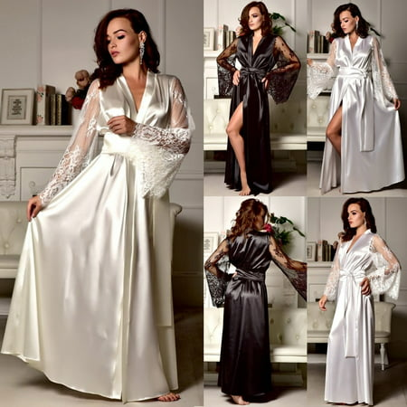 Sexy lingerie silk robe dress pajamas women's Nightdress Nightgown Sleepwear ()