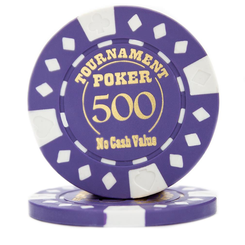 """Roll of 25 Purple Tournament Hot Stamp Poker Chips 12.5g"" by BryBelly"